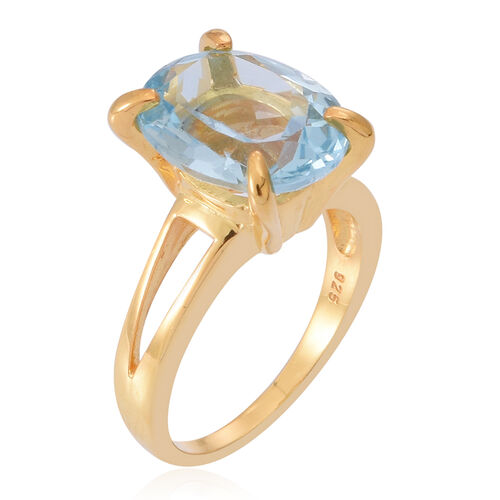 Sky Blue Topaz (Ovl) Solitaire Ring in 14K Gold Overlay Sterling Silver 6.000 Ct.