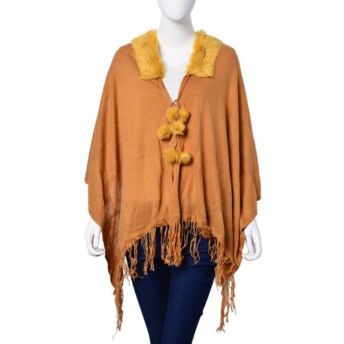 One Time Deal - Designer Inspired - Super Soft Orange Colour Longer Line Kimono Cape with Faux Fur Collar (Free Size)
