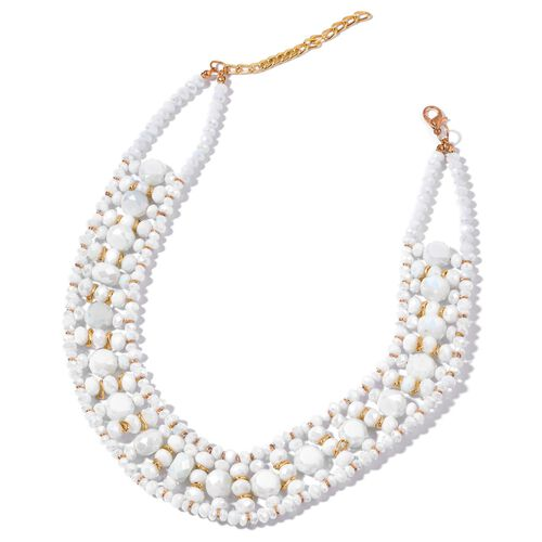 Simulated White Diamond Necklace (Size 16 with 2 inch Extender) and Stretchable Bracelet (Size 7.50) in Gold Tone