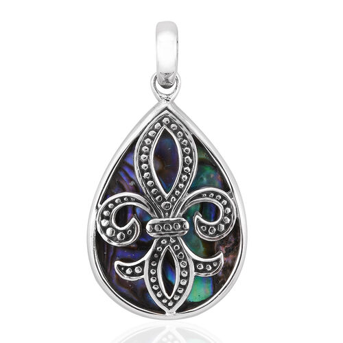 Royal Bali Collection Abalone Shell Fleur De Lis Pendant in Sterling Silver