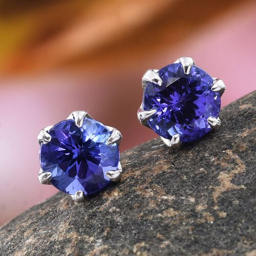 ILIANA 18K White Gold AAA Tanzanite (Rnd) Stud Earrings (with Screw Back) 2.250 Ct.