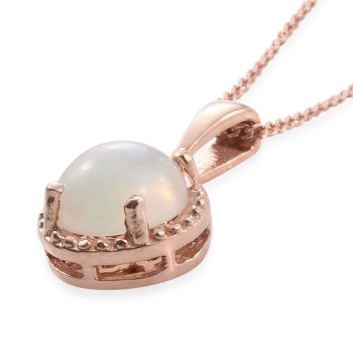 Ethiopian Welo Opal 1 Carat Silver Solitaire Pendant with Chain in Rose Gold Overlay