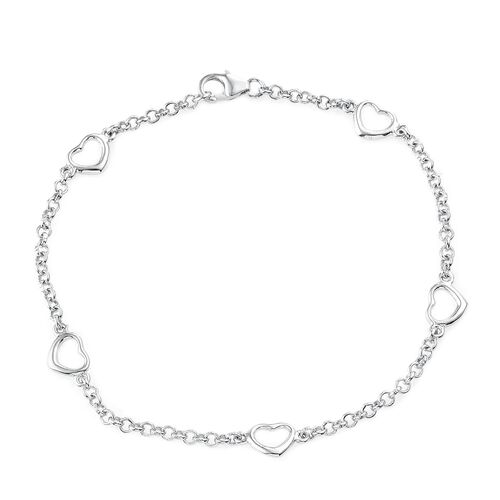 Open Heart Station Chain Bracelet in Platinum Overlay Silver  (Size 7.5), Silver wt. 3.17 Gms.Silver wt. 3.13 Gms