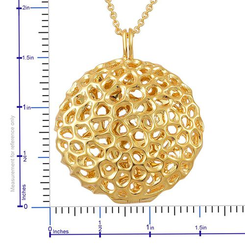 RACHEL GALLEY Yellow Gold Overlay Sterling Silver Disc Locket Pendant With Chain (Size 30), Silver wt 19.00 Gms.