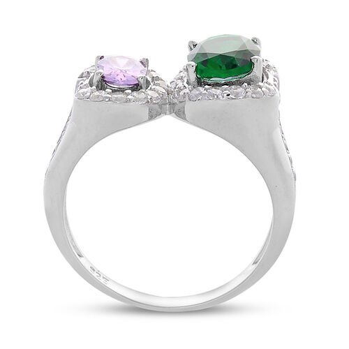 AAA Simulated Amethyst, Simulated Emerald and Simulated White Diamond Ring in Rhodium Plated Sterling Silver