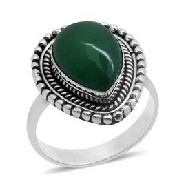 Royal Bali Collection Green Jade (Pear) Solitaire Ring in Sterling Silver 6.045 Ct.
