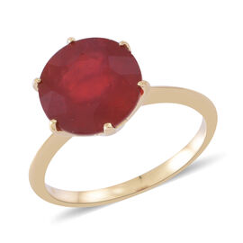 Exclusive Edition-Designer Inspired-  9K Yellow Gold AAA African Ruby (Rnd) Ring 10.000 Ct