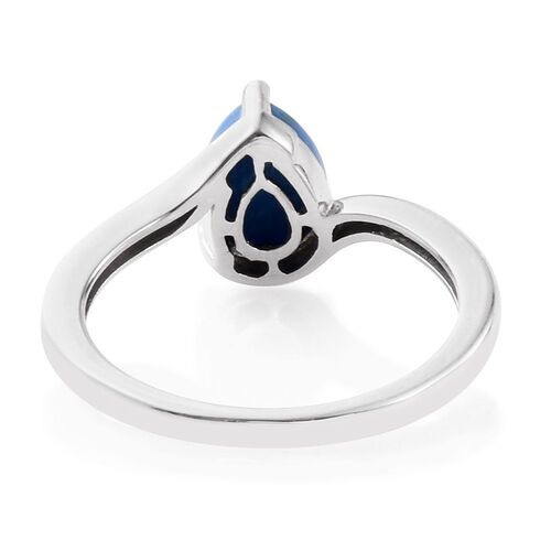 Ceruleite (Pear) Solitaire Ring in Platinum Overlay Sterling Silver 1.250 Ct.