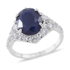 Kanchanaburi Blue Sapphire (Ovl 6.50 Ct), White Topaz Ring in Rhodium Plated Sterling Silver 9.050 Ct.