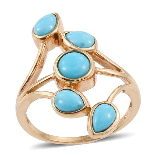 Arizona Sleeping Beauty Turquoise (Rnd 0.60 Ct) Ring in 14K Gold Overlay Sterling Silver 2.000 Ct.