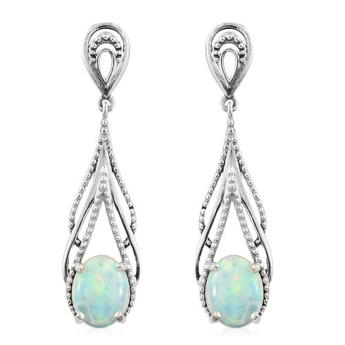 Ethiopian Welo Opal (Ovl) Drop Earrings (with Push Back) in Platinum Overlay Sterling Silver 2.250 Ct.