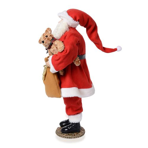 Home Decor - Red Colour Santa Made of Ceramic and Resin with White Fur Beard (Size 21 Inch)