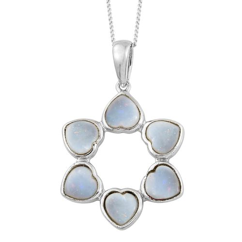 Australian White Opal (Hrt) Floral Pendant with Chain in Platinum Overlay Sterling Silver 2.000 Ct.