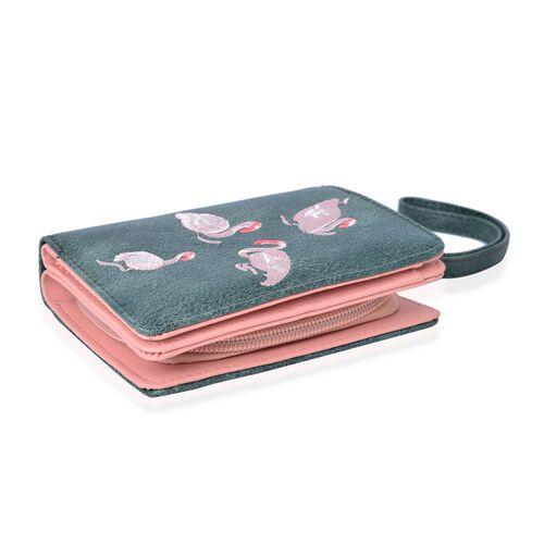 Swan Embroidered Green Bi-Fold Ladies Wallet (Size 11.7x8.5x3 Cm)