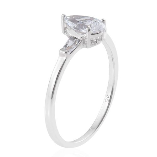 J Francis - 9K White Gold Pear Ring Made with SWAROVSKI ZIRCONIA