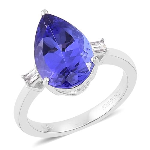 RHAPSODY 950 Platinum 5.25 Ct AAAA Tanzanite Ring with Diamond
