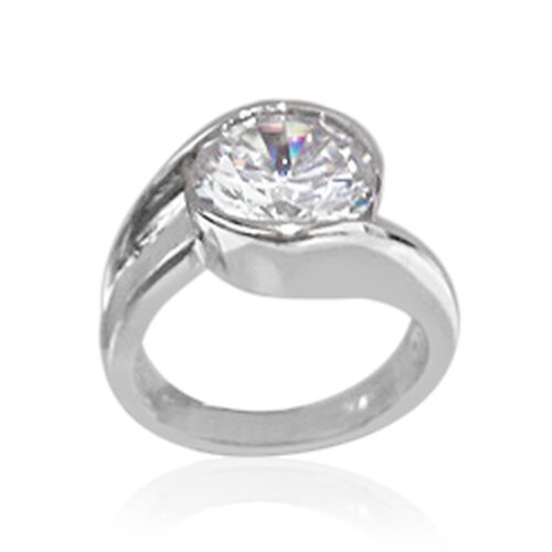 ELANZA AAA Simulated Diamond (Rnd) Solitaire Ring in Rhodium Plated Sterling Silver