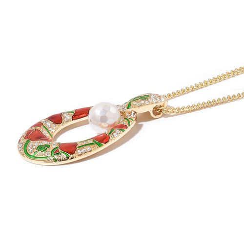 White Shell Pearl (Rnd), White Austrian Crystal Red and Green Enameled Necklace (Size 22 with 2 inch Extender) in Yellow Gold Tone