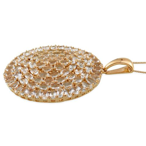 Espirito Santo Aquamarine (Ovl) Cluster Pendant With Chain in 14K Gold Overlay Sterling Silver 15.000 Ct.