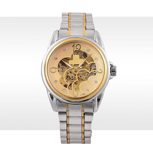GENOA Automatic Skeleton White and Pink Austrian Crystal Studded Golden Dial Water Resistant Watch in Yellow Gold Tone With Chain Strap