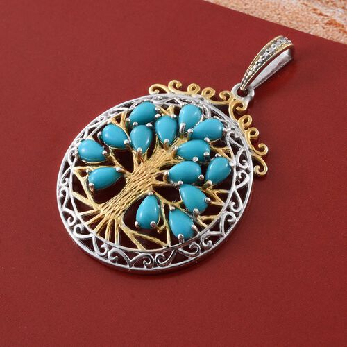 Limited Edition - AAA Arizona Sleeping Beauty Turquoise (Pear) Tree of Life Pendant in Platinum and Yellow Gold Overlay Sterling Silver 2.500 Ct.