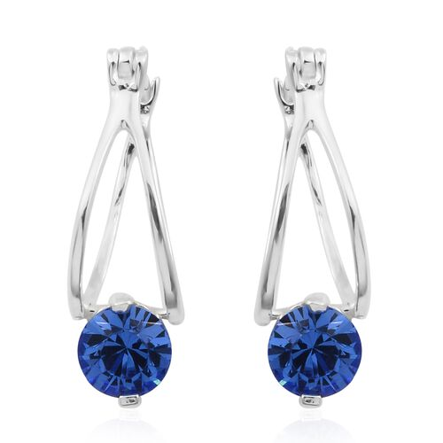 J Francis Crystal from Swarovski - Sapphire Colour Crystal (Rnd 6mm) Hoop Earrings (with Clasp) in Sterling Silver, Silver wt 3.09 Gms.