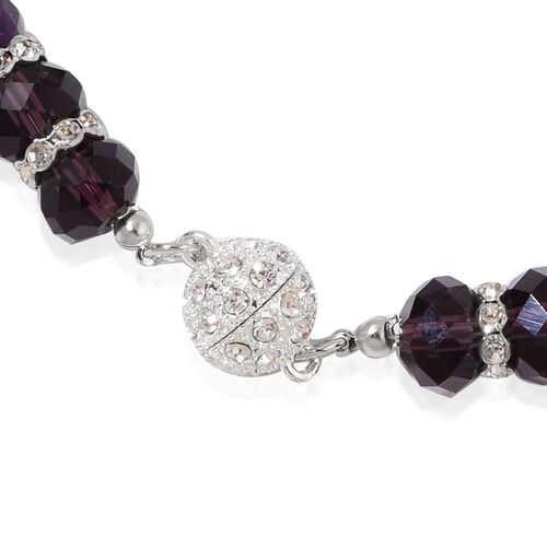 Designer Inspired- Set of 2 - Simulated Amethyst and White Austrian Crystal Necklace (Size 17 and 19) in Silver Tone