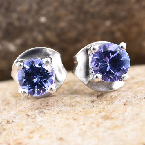 Tanzanite 0.50 Ct Solitaire Silver Stud Earrings (with Push Back) in Platinum Overlay