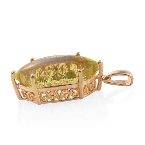 Premium Laser Cut Brazilian Green Gold Quartz Pendant in 14K Gold Overlay Sterling Silver 15.000 Ct.