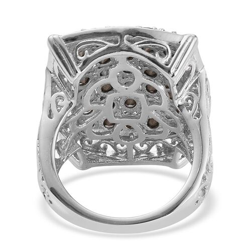 J Francis Crystal from Swarovski - Peridot Colour Crystal (Rnd) Cluster Ring in ION Plated Platinum Bond