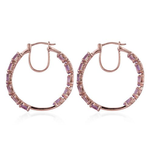 Rose De France Amethyst (Ovl) Hoop Earrings (with Clasp) in Rose Gold Overlay Sterling Silver 9.000 Ct.
