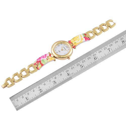 STRADA Japanese Movement Yellow and Multi Colour Floral Pattern Watch in Yellow Gold Tone with Stainless Steel Back