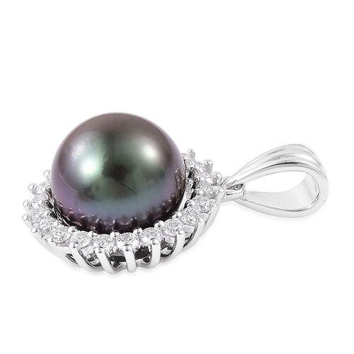 ILIANA 18K White Gold AAAA Tahitian Pearl (Rnd 8-9mm), Diamond (SI G-H) Pendant