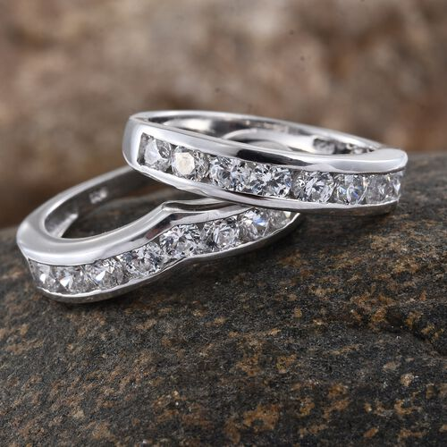 Set of 2 J Francis - Platinum Overlay Sterling Silver (Rnd) Wishbone and Half Eternity Band Ring Made with SWAROVSKI ZIRCONIA