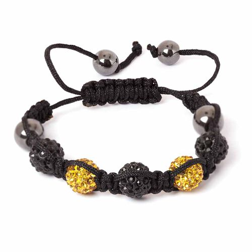 Hematite, Black and Golden Austrian Crystal Friendship Bracelet (Adjustable)