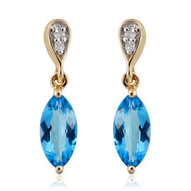 9K Yellow Gold AA Blue Topaz (Mrq), Diamond Earrings (with Push Back) 1.800 Ct.