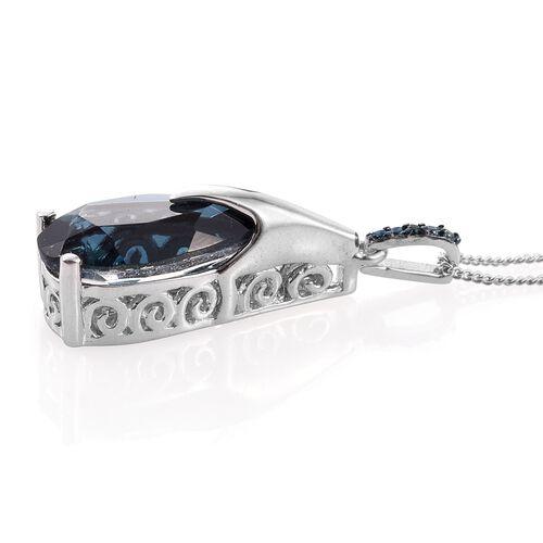 Indicolite Quartz (Pear), Blue Diamond Pendant With Chain in Platinum Overlay Sterling Silver 5.000 Ct.