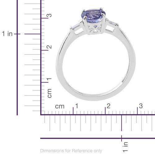 9K White Gold 1 Carat AA Tanzanite with Diamond Ring