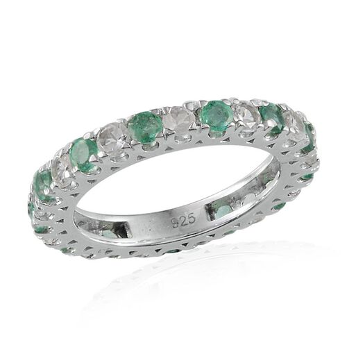 Kagem Zambian Emerald (Rnd), White Topaz Full Eternity Ring in Platinum Overlay Sterling Silver 2.250 Ct.