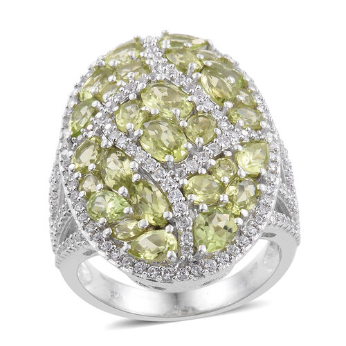 Hebei Peridot (Rnd), Natural Natural Cambodian Zircon Cluster Ring in Platinum Overlay Sterling Silver 8.750 Ct.