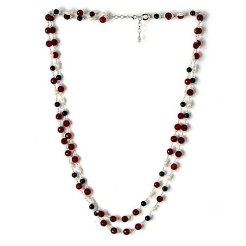Fresh Water Pearl, Red Agate, Rainbow Moonstone and Black Onyx Necklace (Size 36) in Sterling Silver 476.04 Ct.