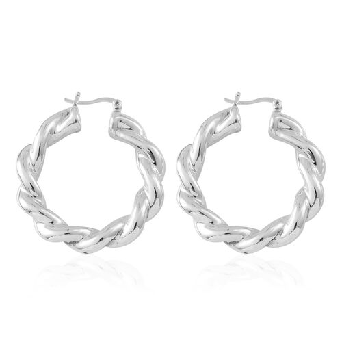 Sterling Silver Twisted Hoop Earrings (with Clasp Lock), Silver wt. 10.19 Gms.
