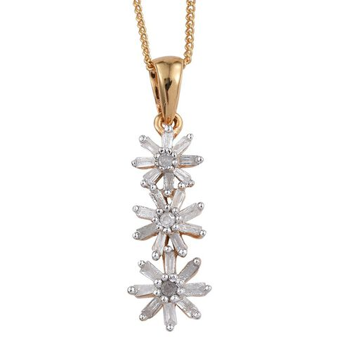 Diamond (Rnd) Triple Floral Pendant With Chain in 14K Gold Overlay Sterling Silver 0.330 Ct.