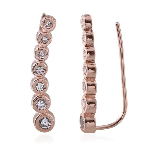 J Francis - Rose Gold Overlay Sterling Silver (Rnd) Climber Earrings Made with SWAROVSKI ZIRCONIA