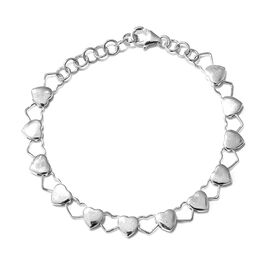 Vicenza Collection - Designer Inspired Heart Bracelet in Rhodium Plated Sterling Silver (Size 7.5), Silver wt. 6.50 Gms.
