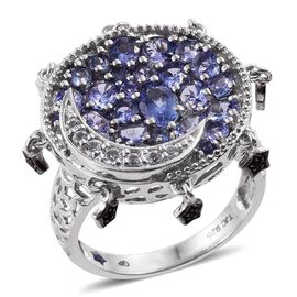 GP Tanzanite (Ovl 0.50 Ct), White Topaz, Boi Ploi Black Spinel and Kanchanaburi Blue Sapphire Moon and Star Ring in Platinum Overlay Sterling Silver 3.750 Ct.