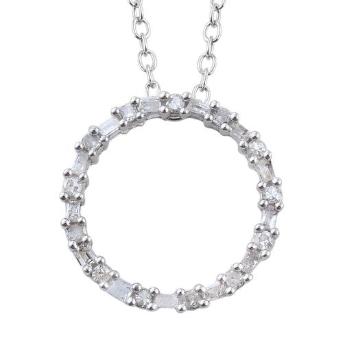 Diamond (Rnd) Circle of Life Pendant With Chain in Platinum Overlay Sterling Silver 0.330 Ct.