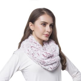 Designer Inspired-Red and White Colour Rose Pattern Faux Fur Infinity Scarf (Size 80X20 Cm)