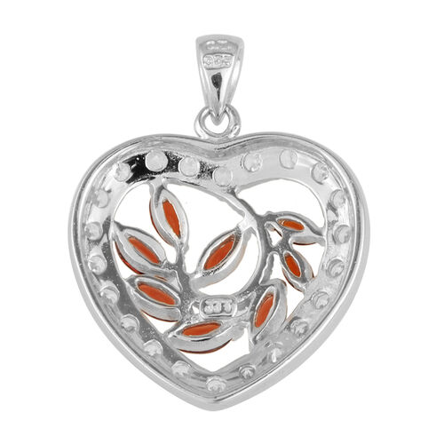JCK Vegas Collection AAA Indian Garnet (Mrq), Simulated Diamond Pendant in Rhodium Plated Sterling Silver 3.000 Ct.