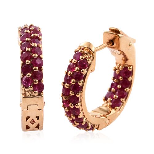 Designer Inspired - Burmese Ruby (Rnd) Hoop Earrings (with Clasp) in Yellow Gold Plated Sterling Silver 2.040 Ct. Silver wt 6.25 Gms.